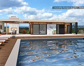 low-poly modern house with swimming pool and fireplace 2