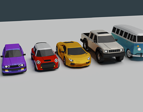 3D asset rigged LOWPOLY CAR PACK real cars