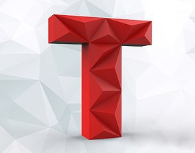 Lowpoly letter T 3D printable model