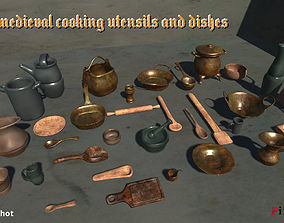 Set of medieval cooking utensils and dishes 3D asset