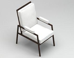 3D Modern white and black chair