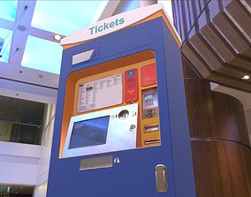 3D asset Mid-Poly Ticket Machine