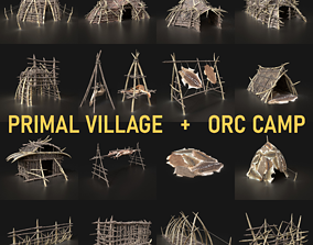 Orc Camp Primal Men Hunter Ancient Huts Builder Pack 3D 1