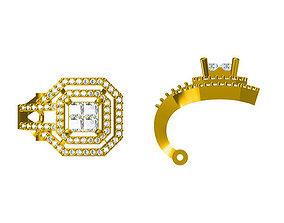 3D print model Square shape earrings round cut earrings