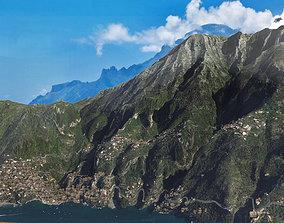 Positano Italy mountain landscape 3D