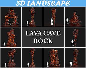 3D model Low poly Lava Cave Rock Module 190225