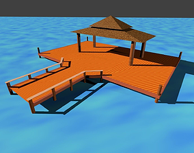 Wooden Hut on Water 3D model