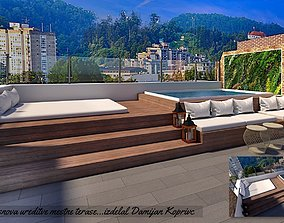realtime roof top lounge with water pool 3d model