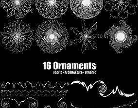 16 Organic Ornaments 3D asset