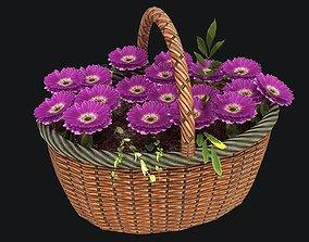 3D model Wicker Basket with Flowers PBR