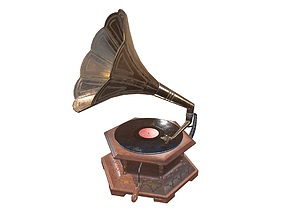 3D asset realtime Gramophone Game Ready