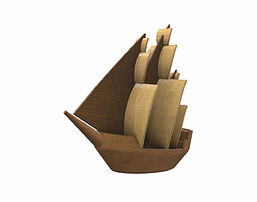 3D model Wooden ship toy 9