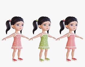 3D asset Baby-girl character