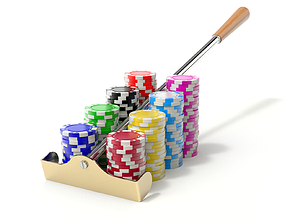 Roulette Rake With Chips 3D