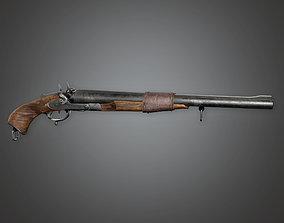 3D asset FPS Western Pump Shotgun - Gatle - WES - PBR Game