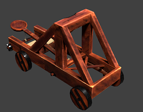 game-ready Low-Poly Catapult 3D Model
