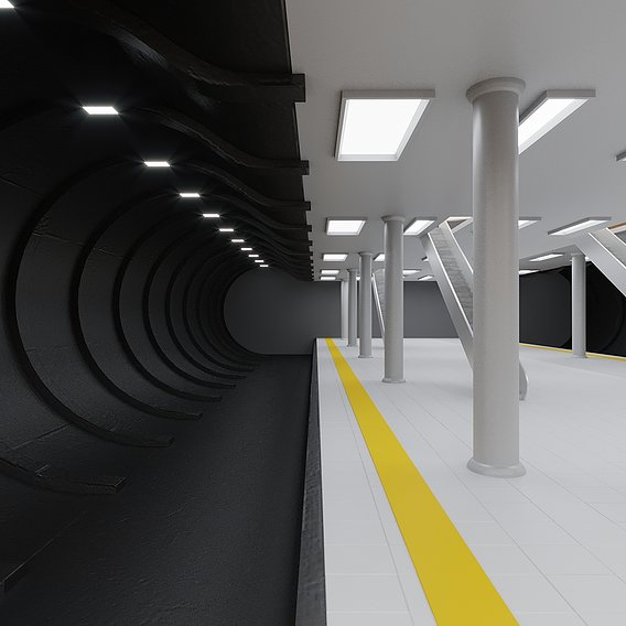 Metro station PBR Low-poly