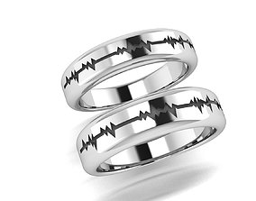 3D printable model rings Heart beat wedding band