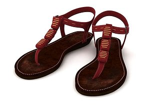 Red Leather Sandals 3D