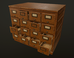3D model realtime Card File Cabinet - PBR Game Ready