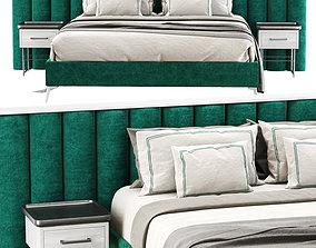 3D model Modern velour green double bed GS69