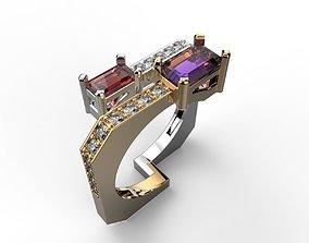Ring 3D print model jewelry ring gems