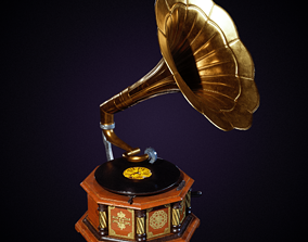 Old Gramophone 3D model low-poly