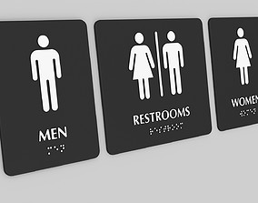 3D printable model Braille Toilet Restroom Signs