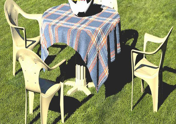 table and chair in daylight