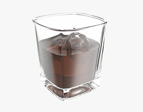 Whiskey glass with ice cube 3D