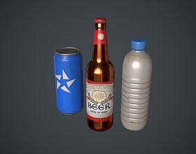 3D model Bottle Water Can and Beer