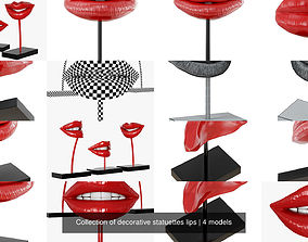 3D Collection of decorative statuettes lips