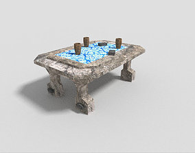 low poly dungeon table 2 3D asset