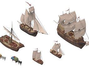 3D model set sailboats