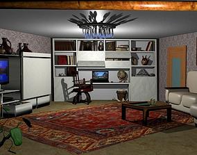 Realistic details living room 3D model
