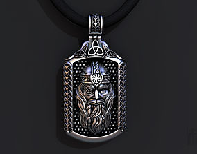 silver pendant God Odin 3D print model