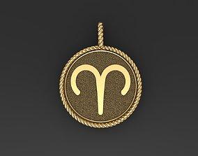 3D printable model Aries Zodiac Sign Pendant