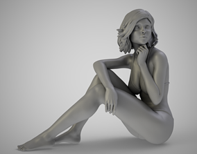 Woman on Sandy Shore 3D print model