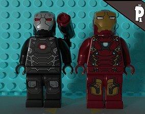 3D asset rigged Lego iron-man 3