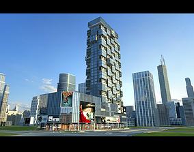 Business square office building 3D asset