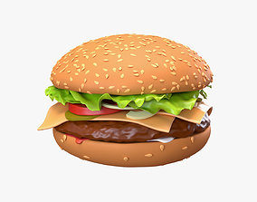 Fast food cheeseburger 01 stylized 3D