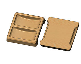 3D print model Square 2 pockets serving tray relief