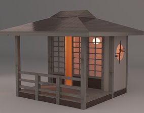 Japanese Teahouse Small Bridge Garden 3D model