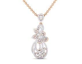 jewellery Women flower pendant 3dm stl render detail