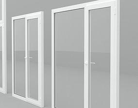 Detailed metal-plastic windows and doors 3D