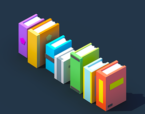 3D model low-poly Low Poly Books