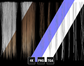 3D model Realistic Hair Texture PBR for Game Character 2