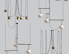Flos Aim And Ceiling Light Pendant Gold 3D model