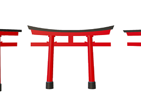 3D Japanese Torii in styles of Kasuga and Hachiman and