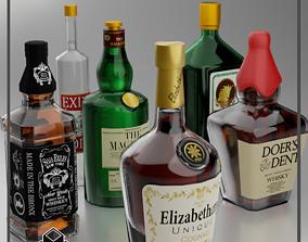 3D model cocktail Liquor Bottles